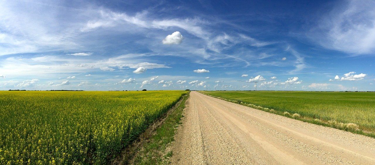 Big sky on a priarie road outside Saskatoon, Saskatchewan